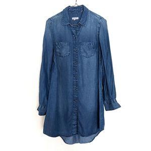 Merona Chambray Long Sleeve Shirt Dress Size Small